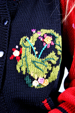 Oversized Vintage Embroidered Berk Cardigan from 1980's - ULTRA-CAT