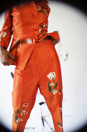 RARE!!!!! Max Nugus Haute Couture Silk Orange Suit - ULTRA-CAT