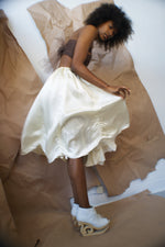 Redesigned Vintage White Satin Skirt - ULTRA-CAT