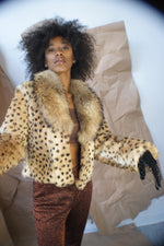 Vintage ''Leopard'' (Dyed Rabbit)  And Fox Collar Cropped Jacket - ULTRA-CAT