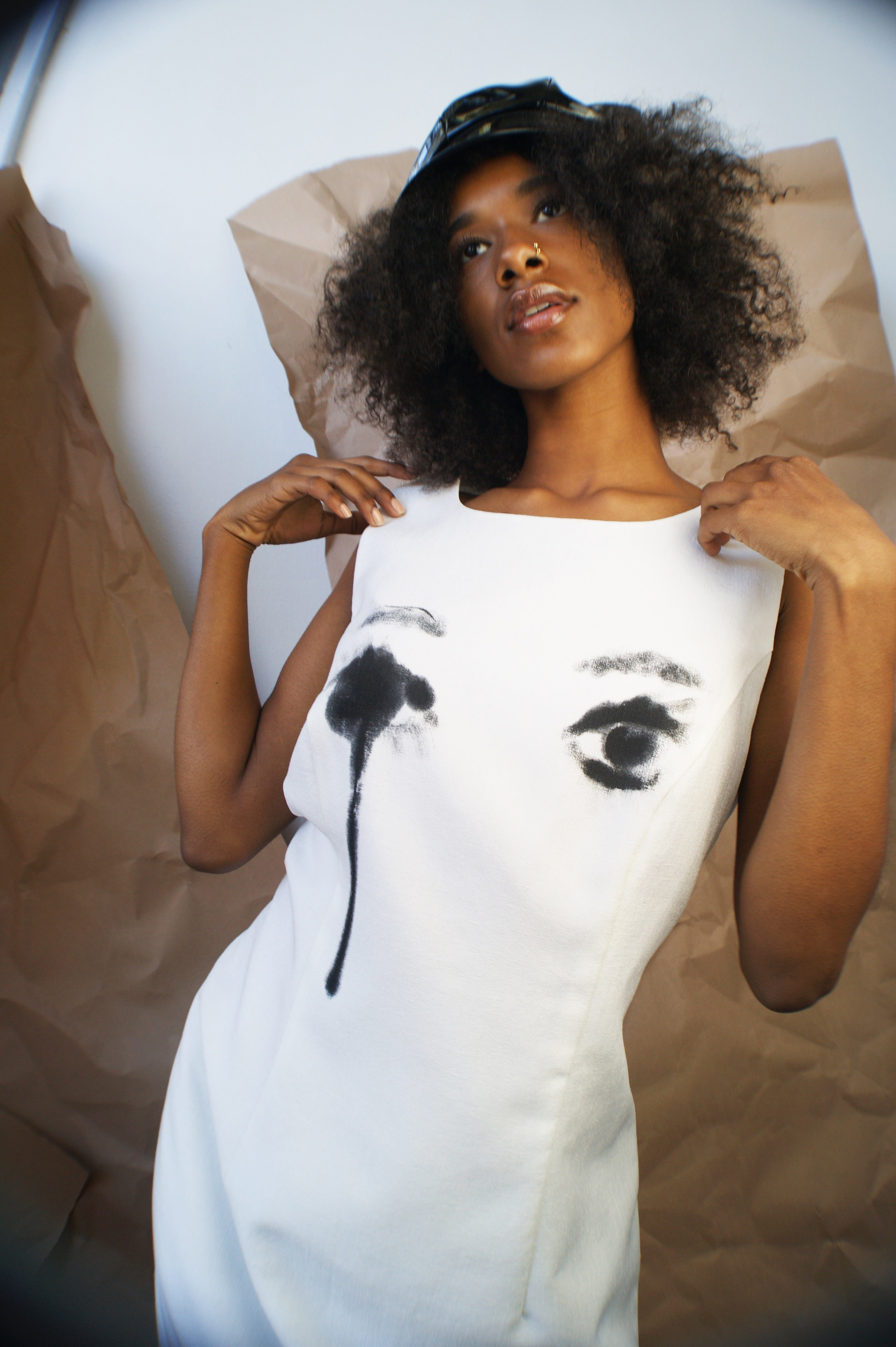 """ Crying Eyes""  Hand Painted White Dress - ULTRA-CAT"