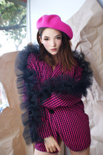 Vintage Redesigned Avant Garde Pink Black Jacket - ULTRA-CAT