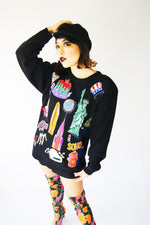 Novelty Vintage 1980's Sweater With American Monuments Embroidery - ULTRA-CAT