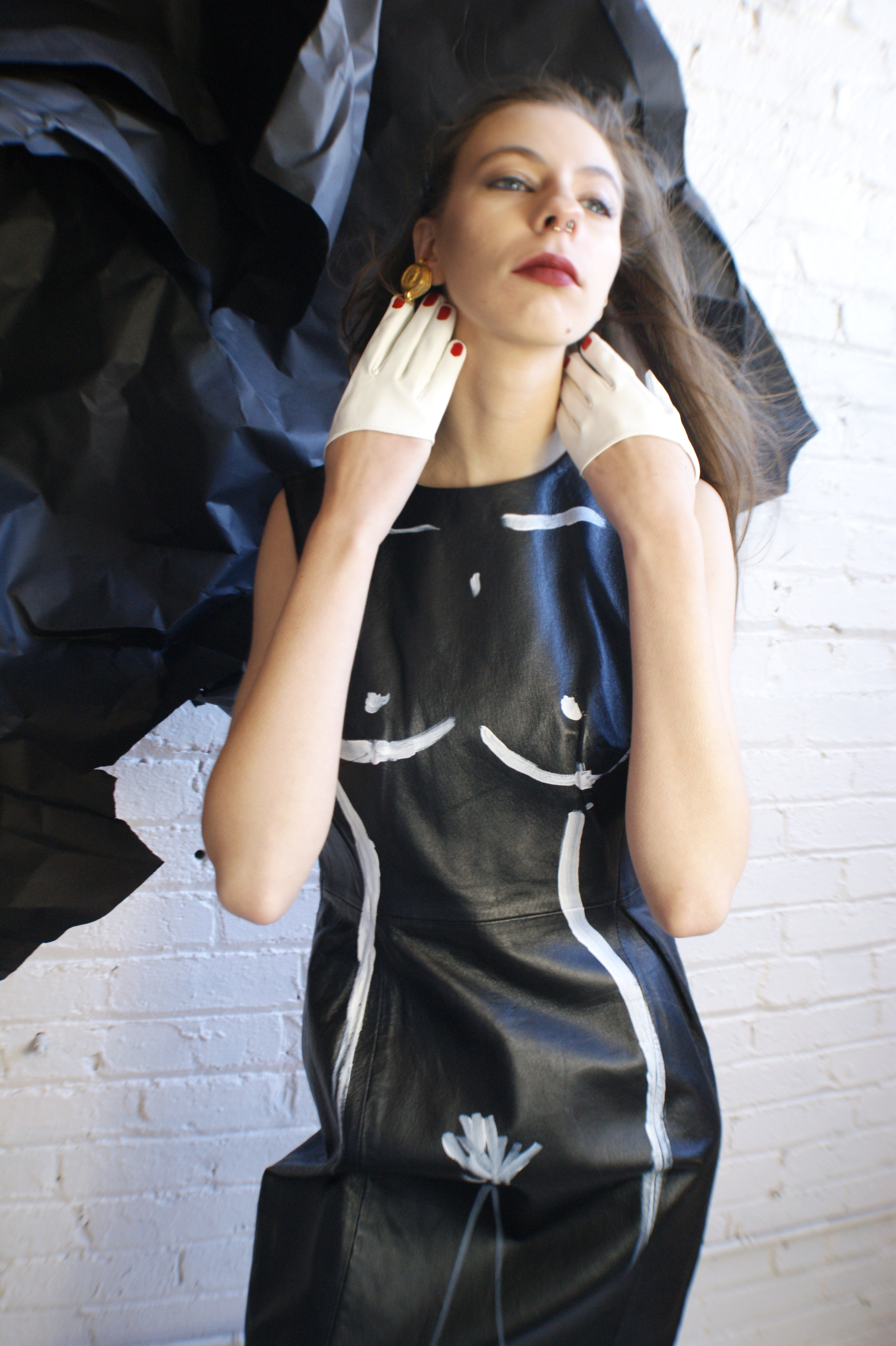 Unique Hand Painted Leather Dress - ULTRA-CAT