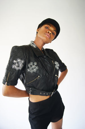 Leather And Lace Restructured Cropped Jacket - ULTRA-CAT