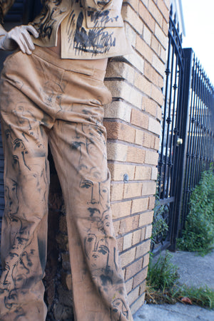 Suede Hand painted Upcycled Pants - ULTRA-CAT