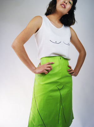 "Lime Leather Skirt With ""Body"" Print - ULTRA-CAT"