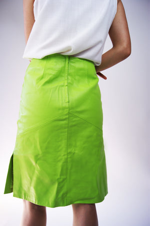 "Lime REAL Leather Skirt with ""Body"" Print - ULTRA-CAT"