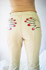Unique Beige REAL LEATHER Pant With Hand Drawing - ULTRA-CAT