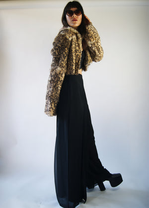 Leopard-Cheetah REAL DYED RABBIT Cropped Vintage Jacket From 1970's - ULTRA-CAT