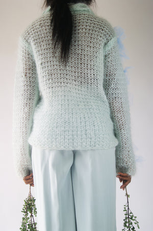 Reworked Vintage Sea foam Mohair 1970's Sweater With Avant-Garde - ULTRA-CAT