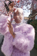 Unique Vintage Lilac Ostrich Feather Jacket - ULTRA-CAT