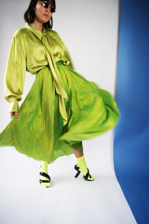 Lime Silk Skirt from 1980's - ULTRA-CAT
