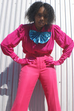 Magenta Bow Silk Blouse