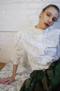 Romantic Puffy Sleeve Lace Top