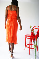 1990's Silk Orange Halter Dress - ULTRA-CAT