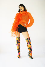 Reworked Vintage Mohair 1970's Sweater With Avant-Garde Decor - ULTRA-CAT
