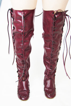 Unique Over The Knee Lace Up Corset Like Boots - ULTRA-CAT