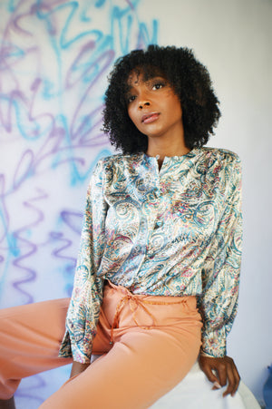 Shiny 1980's Paisley Blouse - ULTRA-CAT