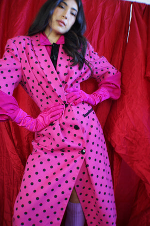 Polka Dot Magenta Dress-Coat - ULTRA-CAT