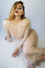 Vintage Silk Pink Sequined Maxi Evening Dress - ULTRA-CAT