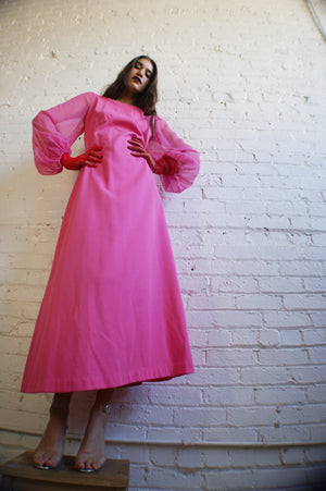 1970's Maxi Pink Dress - ULTRA-CAT