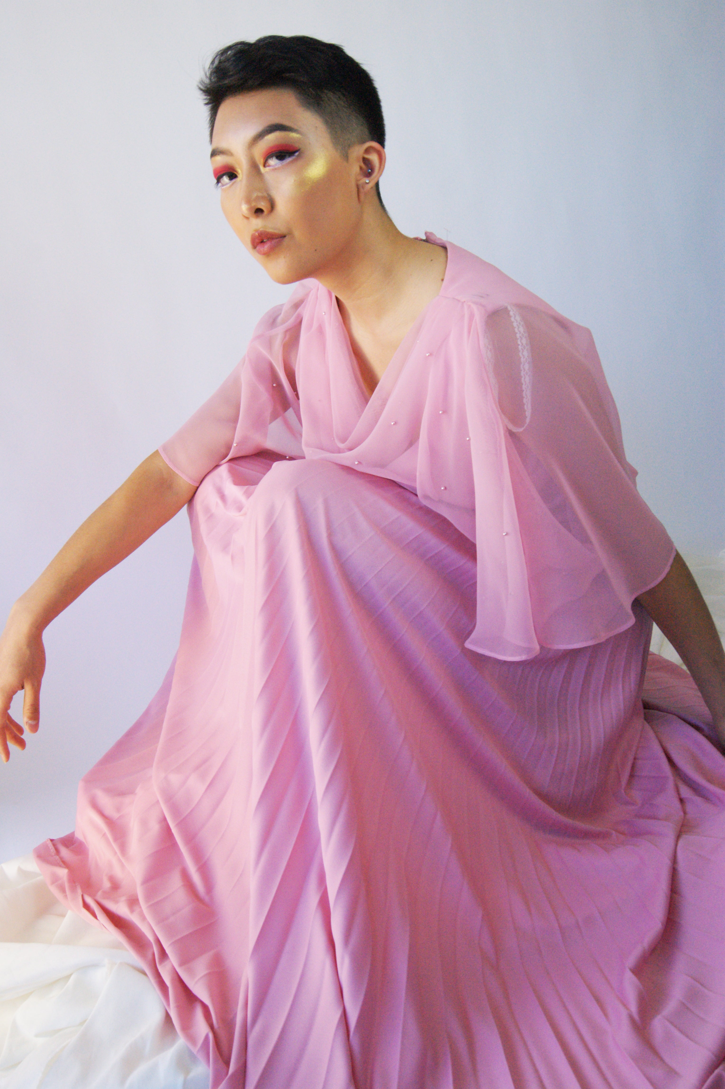 Vintage Pleated Tender Pink Dress - ULTRA-CAT