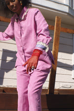 Unique Pink Ultra Suede  Suit