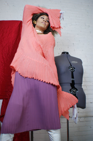 Unique Coral Pleated Blouse - ULTRA-CAT