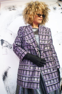 Silver and Purple Vintage Redesigned Blazer - ULTRA-CAT