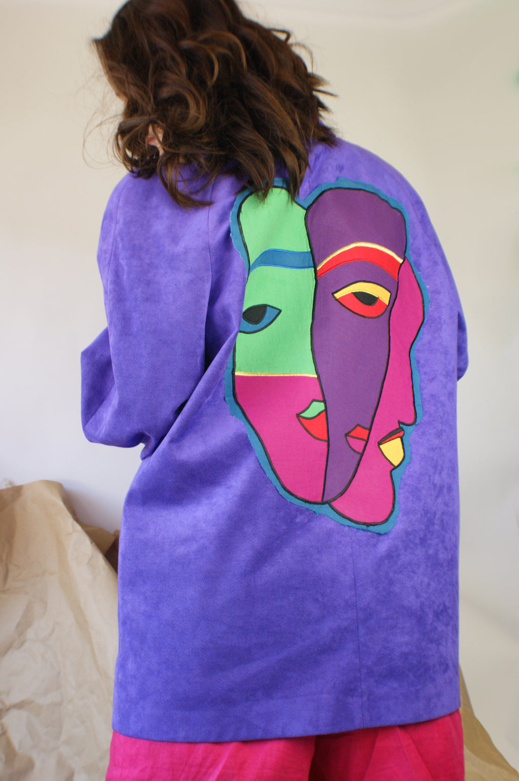 Purple Ultra Suede Jacket With Upcycled Art - ULTRA-CAT