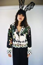 Whimsical Vintage Jacket With Rabbit Print With Swarovski and Pearls - ULTRA-CAT