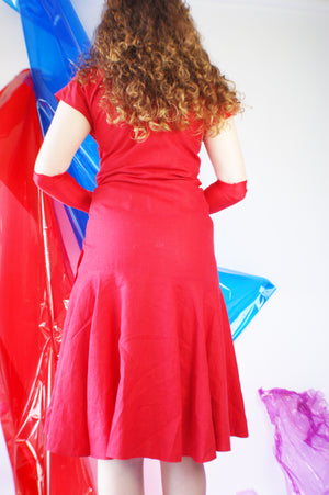 RESERVED FOR MONICA 1980's Red Linen Dress - ULTRA-CAT