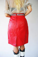 Red Leather Pencil Skirt - ULTRA-CAT