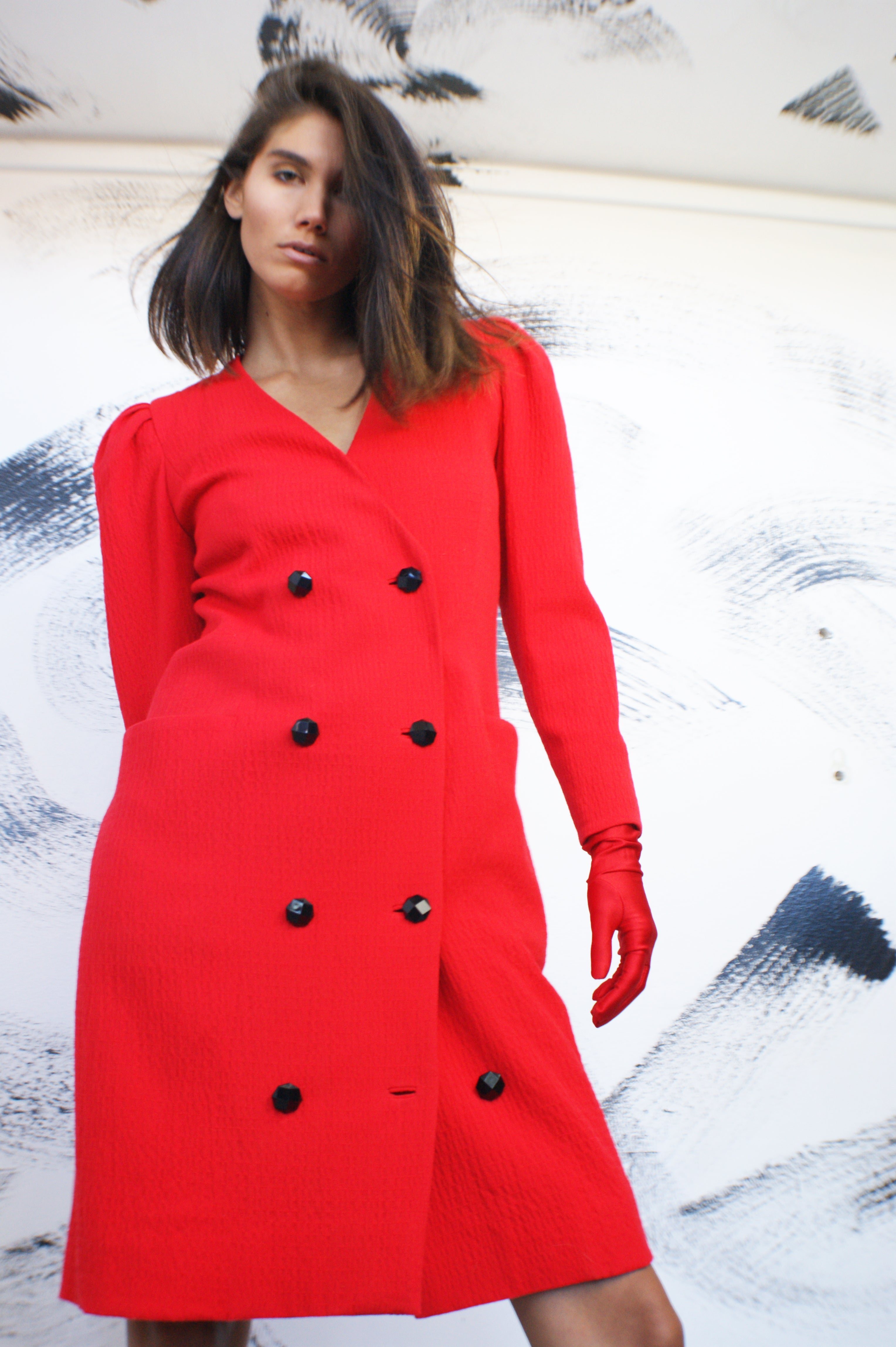 Red Unique 1980's Coat-Dress - ULTRA-CAT