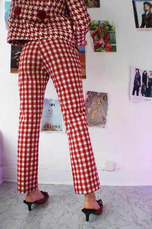 Redesigned 1940's Red Gingham Pants - ULTRA-CAT