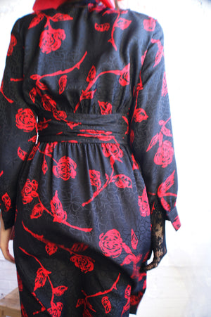 Red Rose Wrap Silk Dress - ULTRA-CAT
