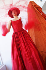 Exceptional Red Satin Ball Gown - ULTRA-CAT