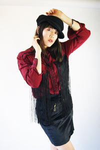 Vintage Silk Western Blouse With Fringe - ULTRA-CAT