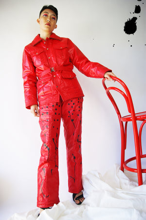1980's Luxurious Ski Pant Suit With Hand Drawings - ULTRA-CAT