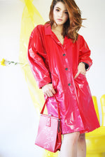 Red Vinyl 1980's Coat - ULTRA-CAT