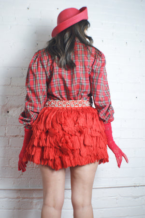 Unique Red Fringe Skirt