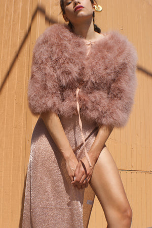 Unique Vintage Rose Gold Ostrich Feather Jacket