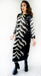 Black and White Sequined Dress Handmade From Early 1970's - ULTRA-CAT