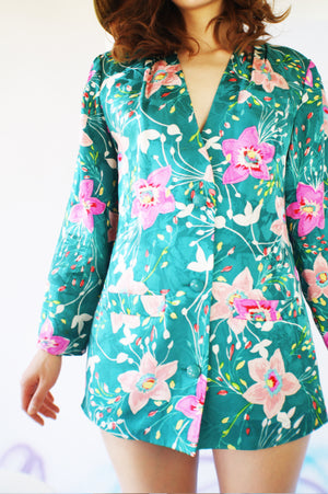 Vintage Redesigned Floral Silk Jacket - ULTRA-CAT