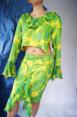 Silk 1990's Floral Set With Unique Skirt Construction - ULTRA-CAT