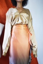 Gold Taupe Vintage Silk Blouse - ULTRA-CAT