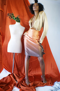 Vintage Silk Skirt With Ombre Effect - ULTRA-CAT