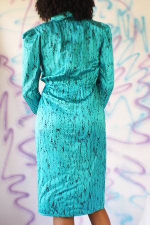 1980's Silk Dress With Marble Effect - ULTRA-CAT