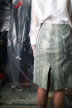 Leather Snakeskin Vintage Gray Skirt - ULTRA-CAT